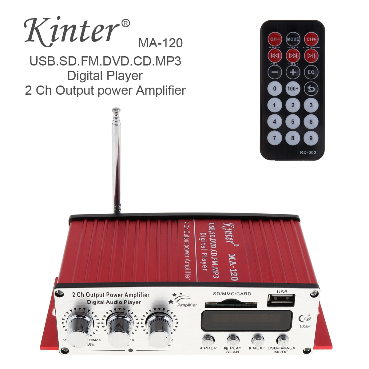 Kinter MA-120 12V 2CH wzmacniacz samochodowy HIFI Radio FM stereofoniczny odtwarzacz muzyczny obsługuje USB SD DVD MP3 wejście dla Auto motocykl