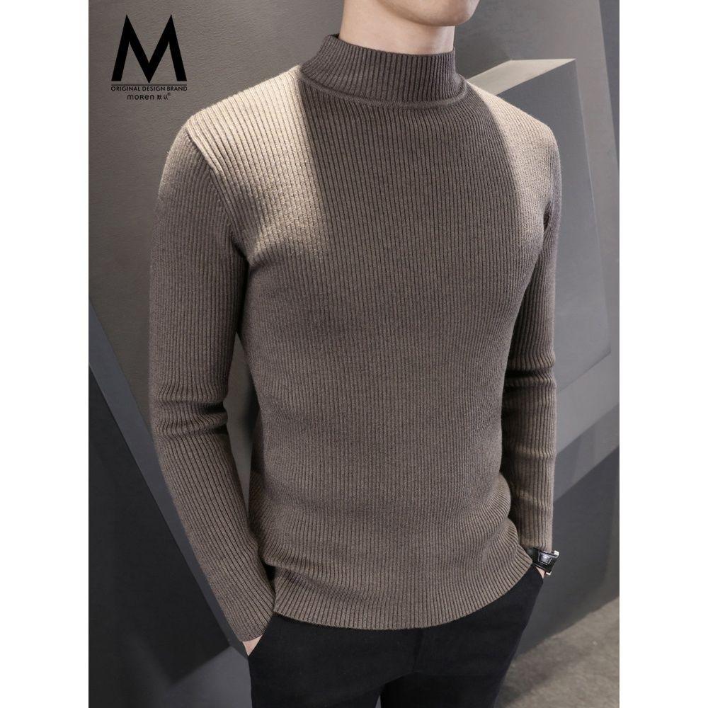 Мужской свитер с полувысоким воротником, мужской плотный осенне-зимний облегающий свитер, корейский Повседневный пуловер со средней горло...