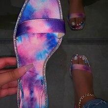 Comfortable fashion female summer flat bottom outdoor slippers High quality sexy roman rhinestones plus size women sandals 37-42