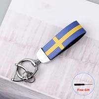 sweden flag keychain for volvo xc90 s60 xc60 v70 s80 s40 v40 v50 v60 xc70 c30 fh xc40 s90 c70 v90 rdesign s70 car key chain ring