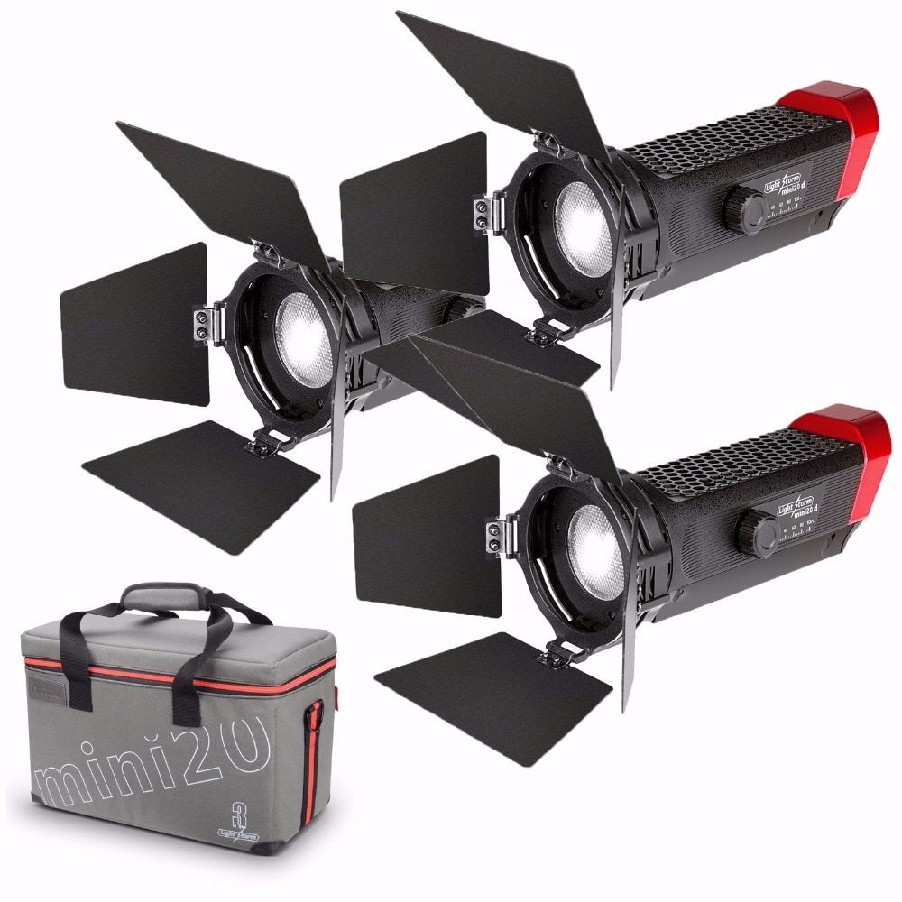 Aputure LS-mini20 3 Kit de luz de vídeo para vídeo incluye dos mini 20 D, un mini 20c LED Luz de Fresnel TLCI CRI 96 + 40000lux 0,5 m DSLR