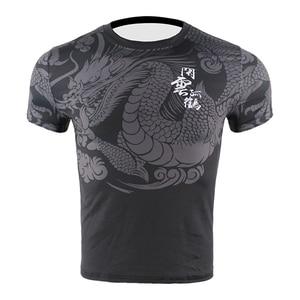 Men Chinese Dragon Quick Dry Fighting MMA Jerseys Compression Kick Boxing Training T Shirt Tiger Muay Thai Jiu jitsu Sweatshirt