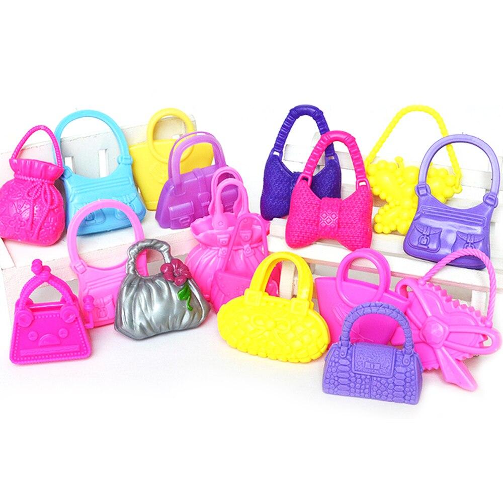 10 Uds mezcla de estilos coloridos muñecas para chicas juguetes bolsos de moda bolsos accesorios de muñeca para Barbie juguetes niños cumpleaños niñas regalos