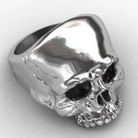 new exaggerated skull ring mens ring fashion skull horror ring metal silver plated ring accessories party jewelry size 7 13