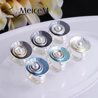 meicem 2021 new arrival imitation pearl rings for women trend jewelry enamel ring metal circle personality engagement ring gift