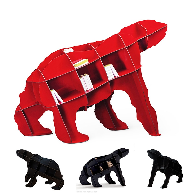 Книжная полка Polar Bear, многослойная простая сборная книжная полка, креативный угловой шкаф, книжный органайзер, полка, книжный шкаф, домашний ...