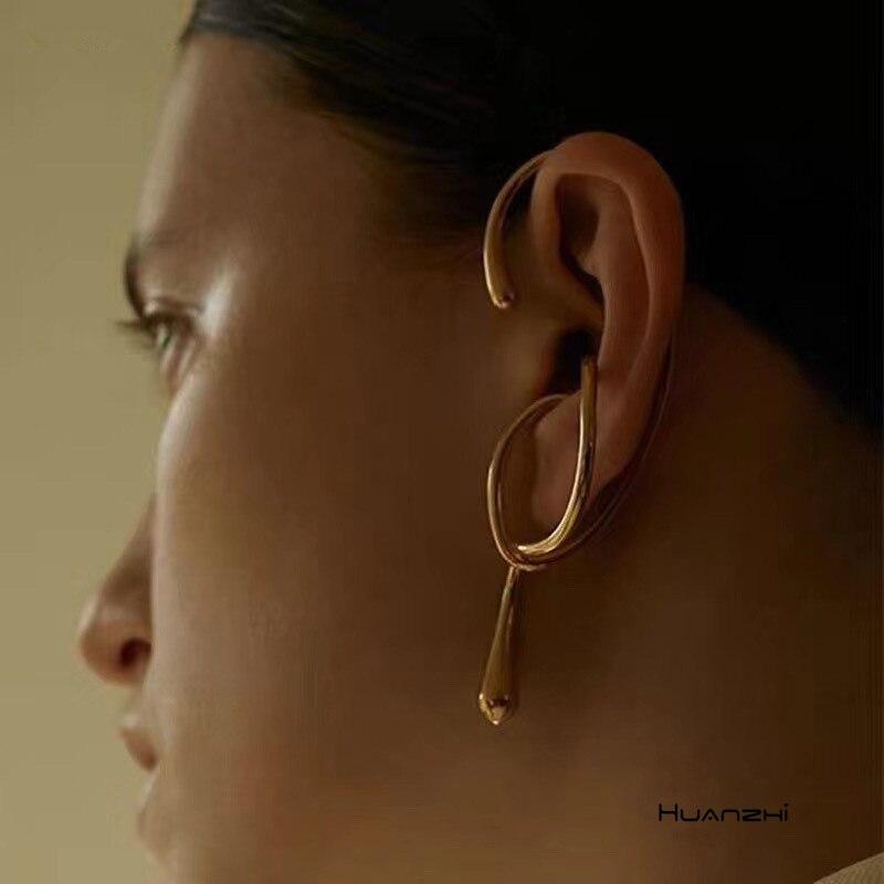 HUANZHI 2020 nuevo Metal chapado en plata geométrica oreja Cuff Clip en los pendientes para las mujeres Gold Line Earings sin Piercing joyería