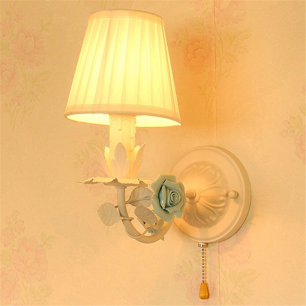 مصباح جداري على الطراز الاسكندنافي مع مفتاح سحب ، مصباح بجانب السرير ، قماش رعوي ، مثالي لغرفة نوم الفتاة.