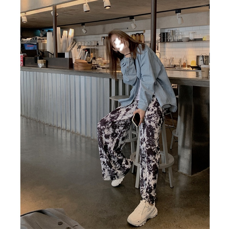 2021 New Pleated Wide Leg Womens High Waist Drape Straight Loose Spring and Autumn Style Ink Painting Mopping Casual Pants