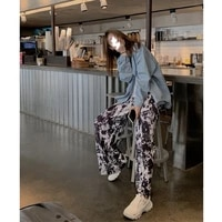 2021 new pleated wide leg womens high waist drape straight loose spring and autumn new style ink painting mopping casual pants