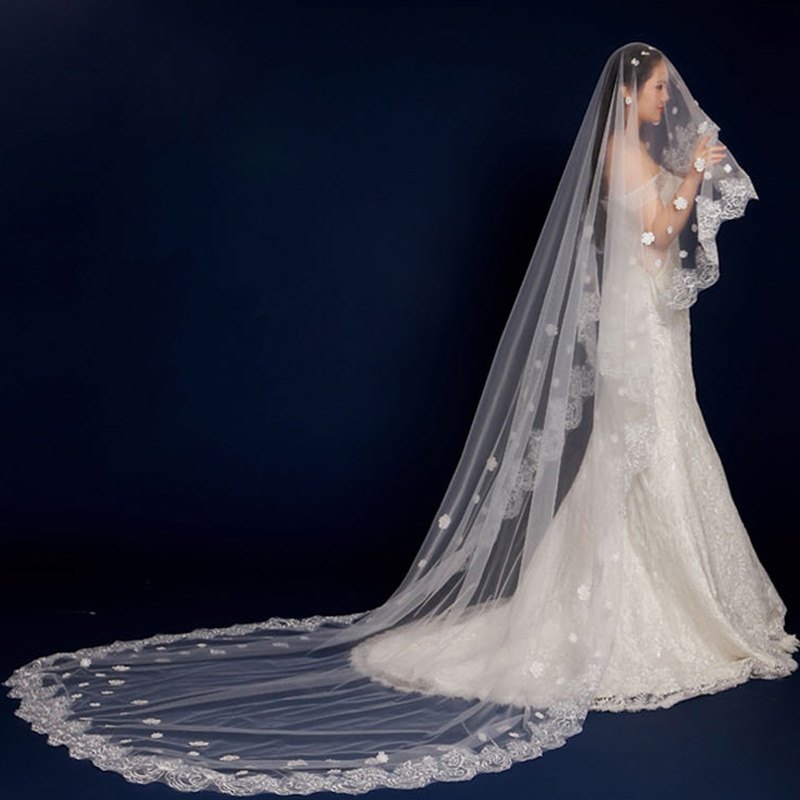 AliExpress - Llower Veil Wedding Tailing Veil Wedding Accessories 1.5/2/3M Bridal Romantic 1 Layer Lace Without Comb