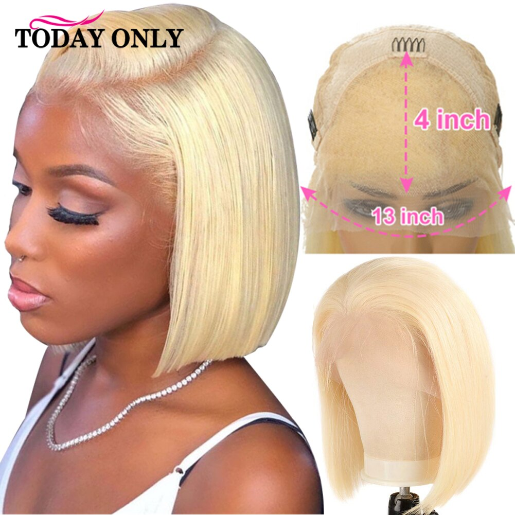 613 Blonde Bob Wig 13x4 HD Lace Front Wig Brazilian Bone Straight Lace Front Human Hair Wigs For Women HD Transparent Lace Wig