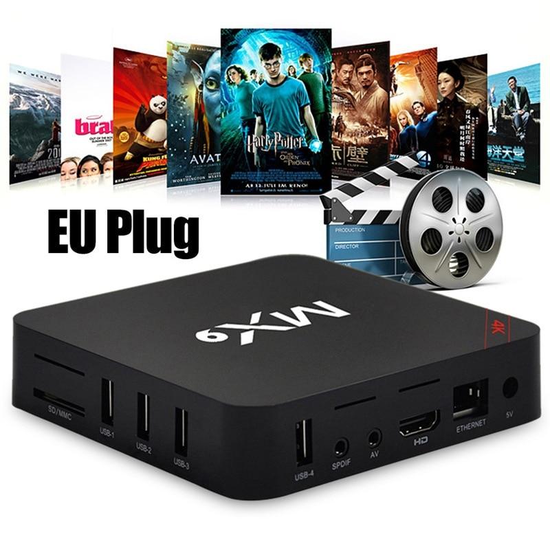 TV Box MX9 4K Quad Core 1GB 8GB Android 4.4 TV BOX ، 2.0 HD ، HDMI ، SD ، WiFi 2.4GHz ، وحدة فك التشفير ، مشغل الوسائط ، مقبس الاتحاد الأوروبي