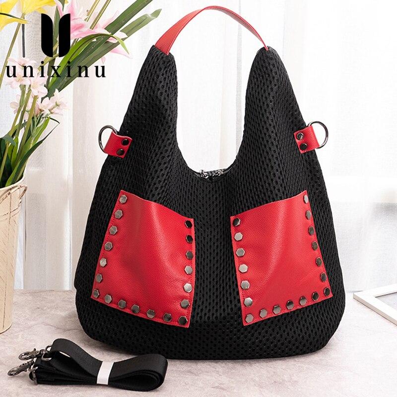 الصيف تنفس شبكة سعة كبيرة برشام ديكور حقيبة كتف نسائية واسعة حزام الإناث Crossbody حمل حقائب اليد