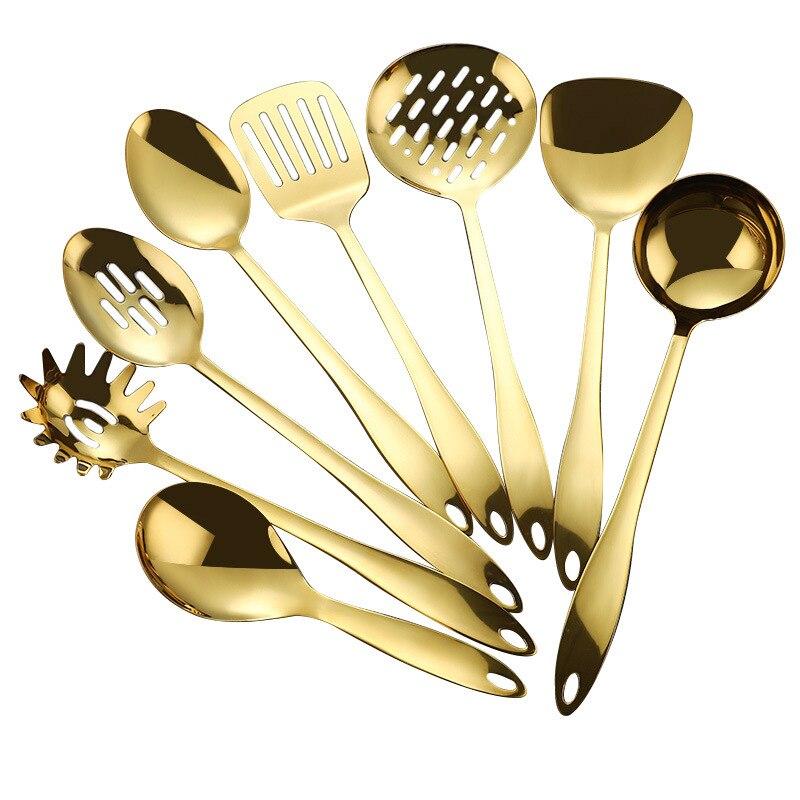 الفولاذ المقاوم للصدأ 8 قطع أواني المطبخ مجموعة الذهب الأسود ارتفع الذهب قوس قزح أواني الطبخ مجموعة