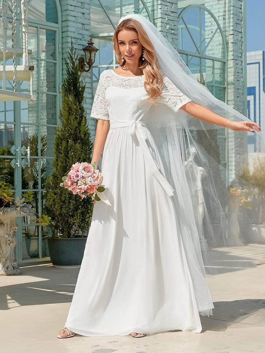 Get Formal Wedding Dress Elegant Chiffon Lace With A-line Floor Length Short Sleeves O-neck Garden Wedding Bride Gowns Backless