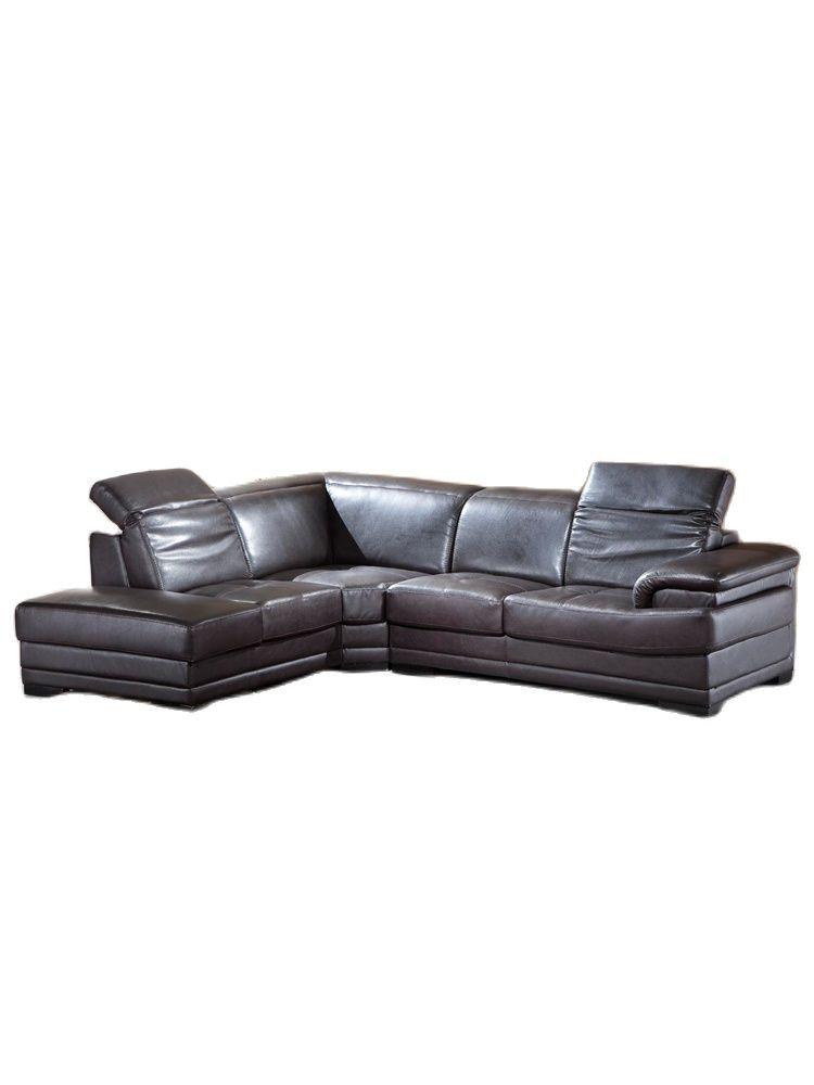 أريكة إيطالية متدرجة من الجلد الطبيعي ، أريكة مقطعية ، أثاث منزلي ، حجم كبير مع مسند رأس وظيفي