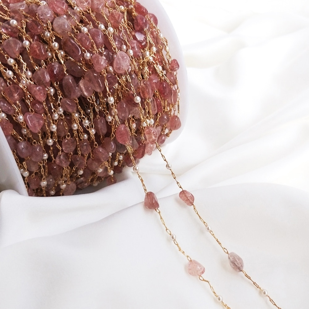 50cm Pink Crystal Stone Chain Copper Cable Pearl Bead Link Chain For Necklace Bracelet Jewelry Making Components DIY Accessories 50cm diy handmade jewelry accessories authentic gold electroplated pearl crystal chain earrings necklace bracelet material
