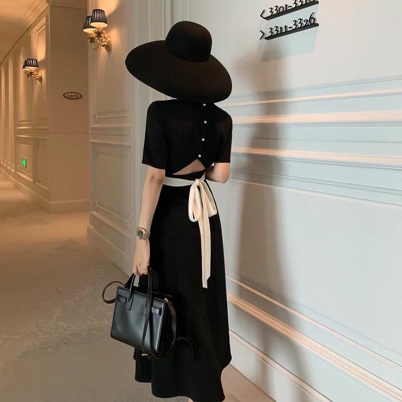 2021 New Summer black Women Slim Fashion Backless Long Dress Designer Runway Chic Casual Holiday Retro Bandage party