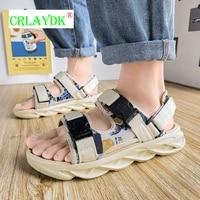crlaydk buckle strap men sandals summer platform boys casual shoes breathable fashion slippers beach walking sport flat slides