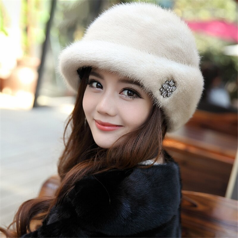 2020 Winter New Russia 100% Natural Real Mink Fur Beret Lady High Quality Real Mink Fur Hat Real Mink Beret Tide Gift Hat