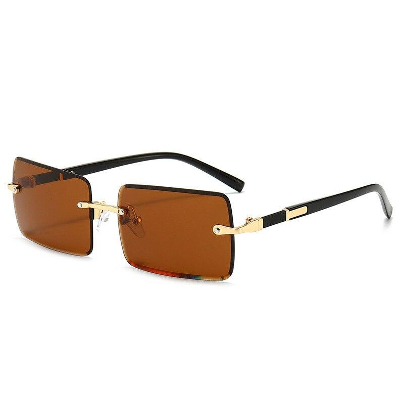 2021 Rectangle Vintage Fashion Sun Glasses Rimless Women Sunglasses Gradient Lens  Designer Oculos D