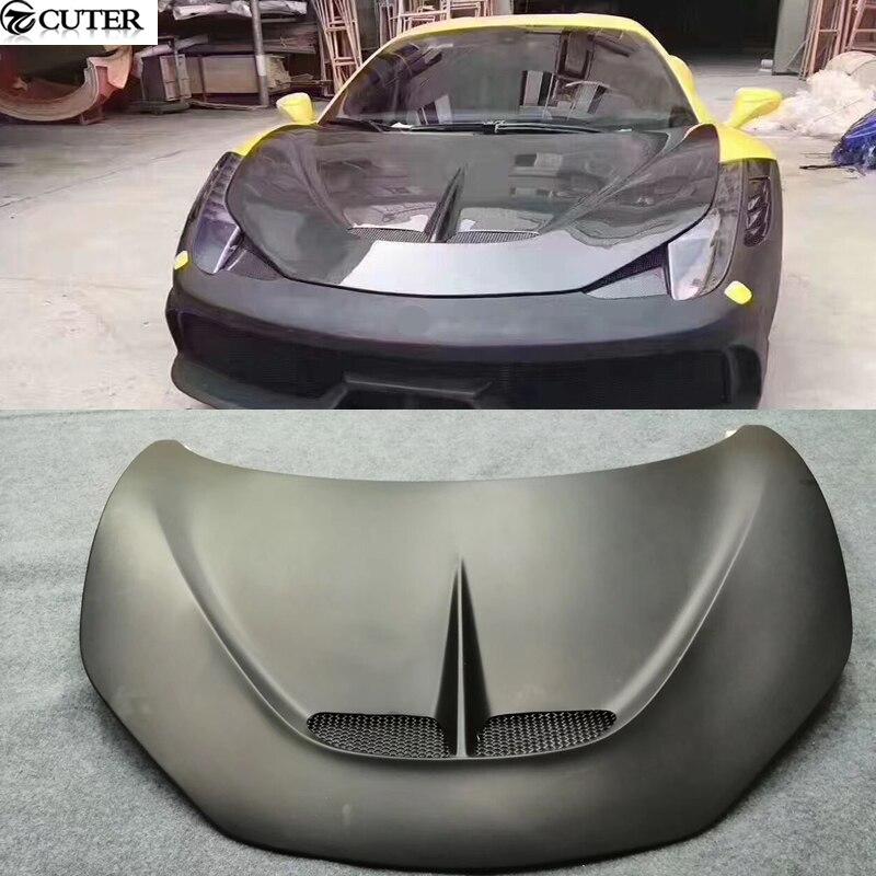 458 SP style Carbon fiber FRP front engine hood bonnet for Ferrari 458 SP style car body kit
