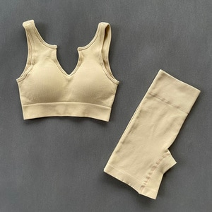 Two Piece Set Women Seamless Sports Suits Yoga Sets Crop Top Bra Fitness Shorts Running Sportswear Gym Workout Clothes Female