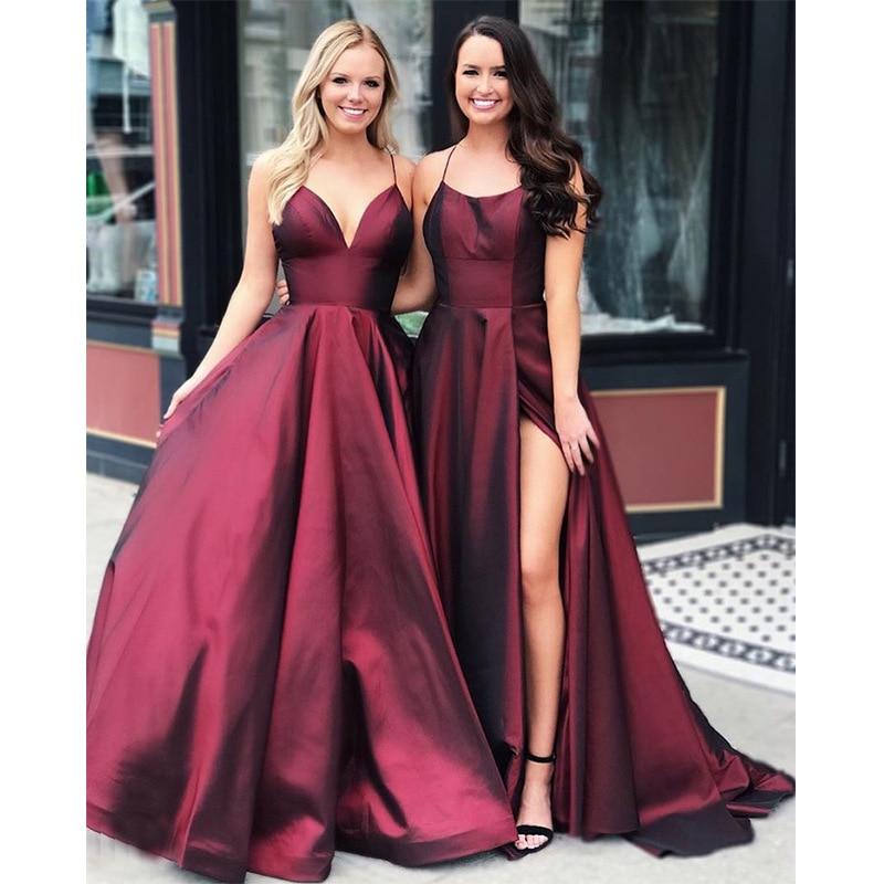 2021 vino rojo vestidos De noche Sexy tirantes d'espagueti De satén Simple...