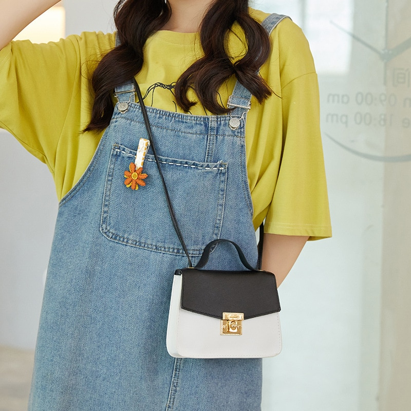 OkoLive SB0053 Korean Lock Mini Bag Square Bag Women Flap Bag Color Stitching Wild Shoulder Bag Student Mobile Phone Bag