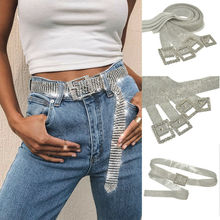 Ceinture en strass pour femmes   Large et mince, ceinture de mariée scintillante, en cristal, ceinture avec chaîne en diamant doré