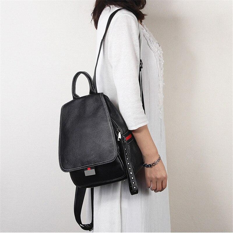 Mochila Nesitu Highend Para Mujer, novedad, color negro, rojo, caqui, verde, de piel auténtica, para chica, bolsa de viaje para mujer M021