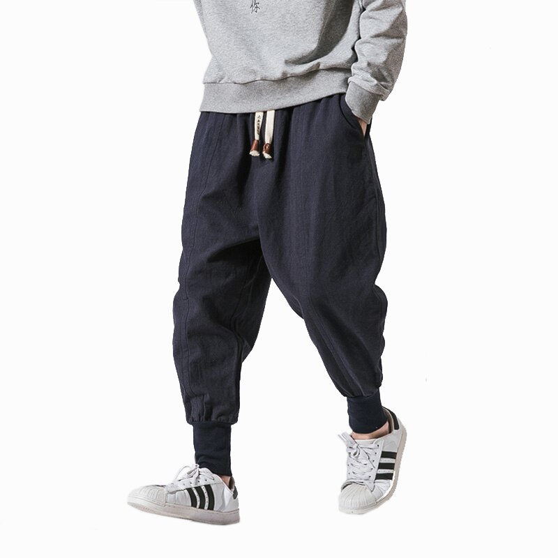 Dropshipping Streetwear Men Harem Pants Korean Style Casual Cotton Linen Trouser Man Jogger Pants 2021 New Baggy Pants Men