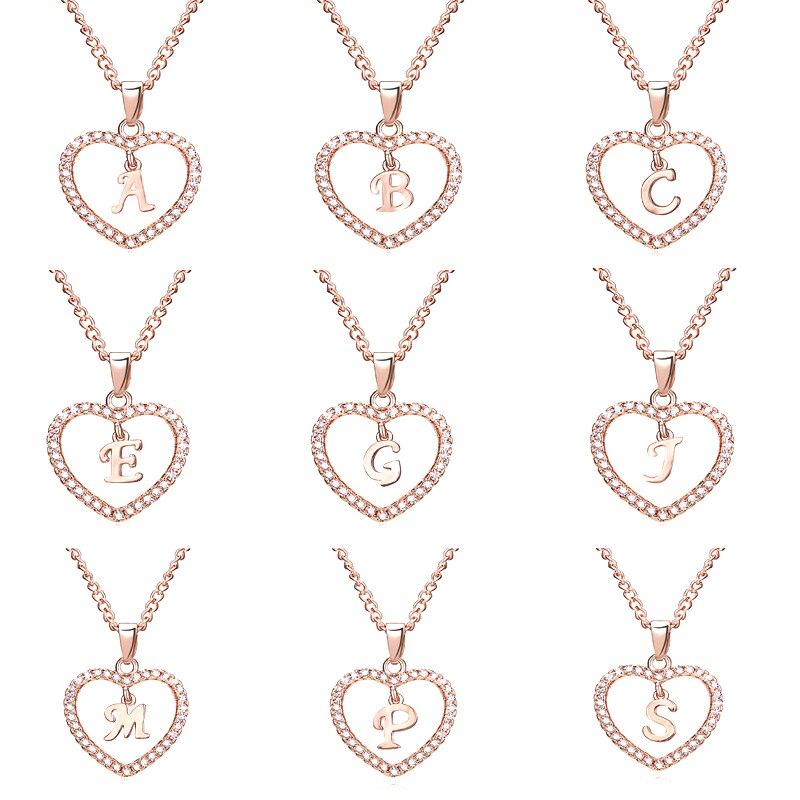 14 style moda biżuteria kobiety wisiorek serca listu naszyjnik blokada złoty kolor geometryczny urok łańcuszki sięgające obojczyka kołnierz