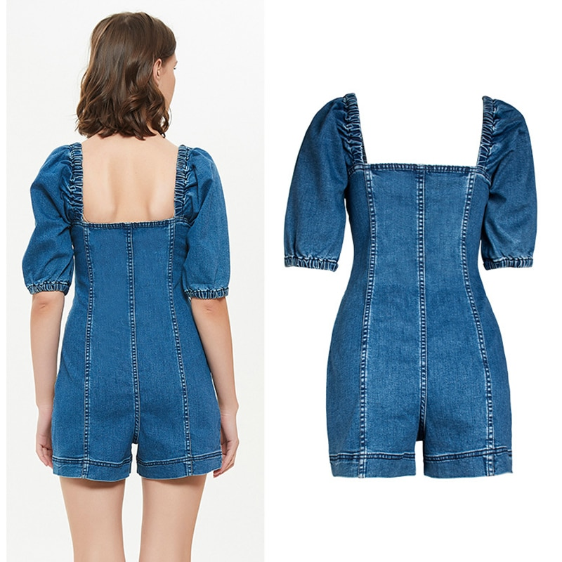 Sexy waist jumpsuit blue DSQBRAND spring and summer single breasted thin denim square collar jumpsuit fashion luxury 21 new enlarge