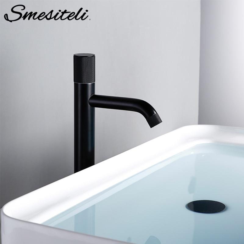 Smesiteli Basin Faucet Matte Black Brass Hot And Cold  Mixer Tap Bathroom Knurling Design Single Handle Sink Faucet