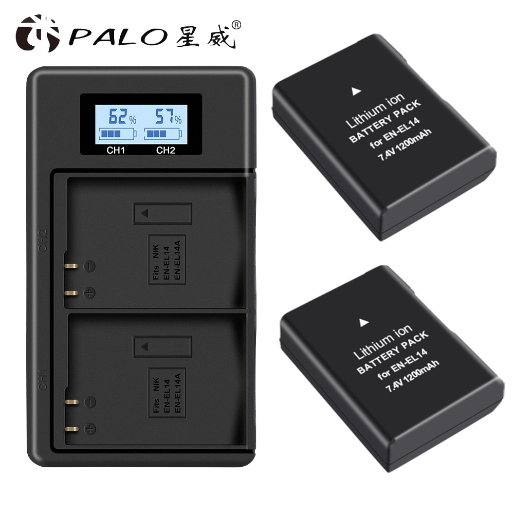 Bateria + Carregador de Bateria Lcd para Nikon Manequim D3100 D3200 D3300 D5100 D5200 D5300 P7000 En-el14 En-el14a Enel14 en El14