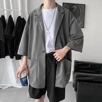 summer solid color formal suit jacket men korean fashion loose business casual suit men harajuku streetwear jacket men