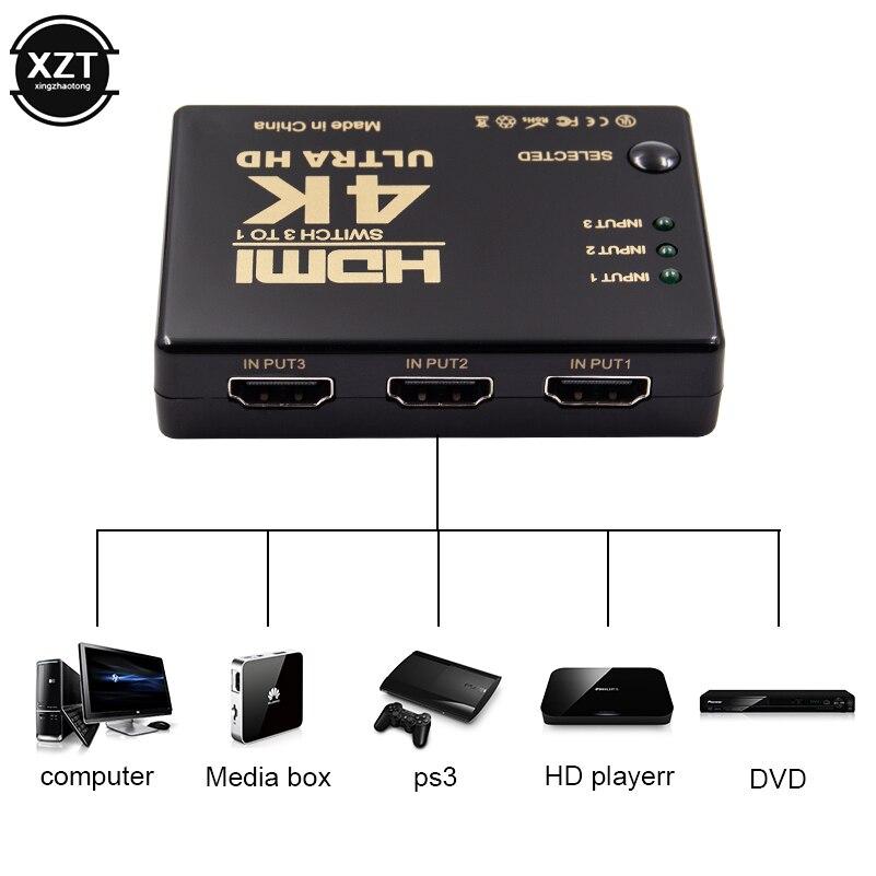 Mini interruptor HDMI 4K HD1080P 3 5 puertos HDMI interruptor Selector divisor con Hub IR control remoto para HDTV DVD TV BOX Z2