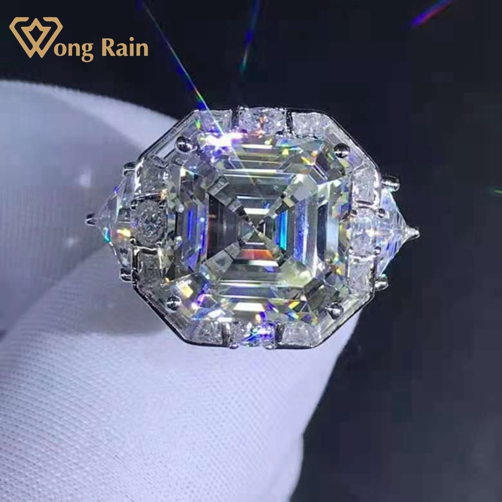 Review Wong Rain 925 Sterling Silver Asscher Cut 6 CT D Created Moissanite Diamonds Engagement Ring Customized Rings Fine Jewelry Gifts