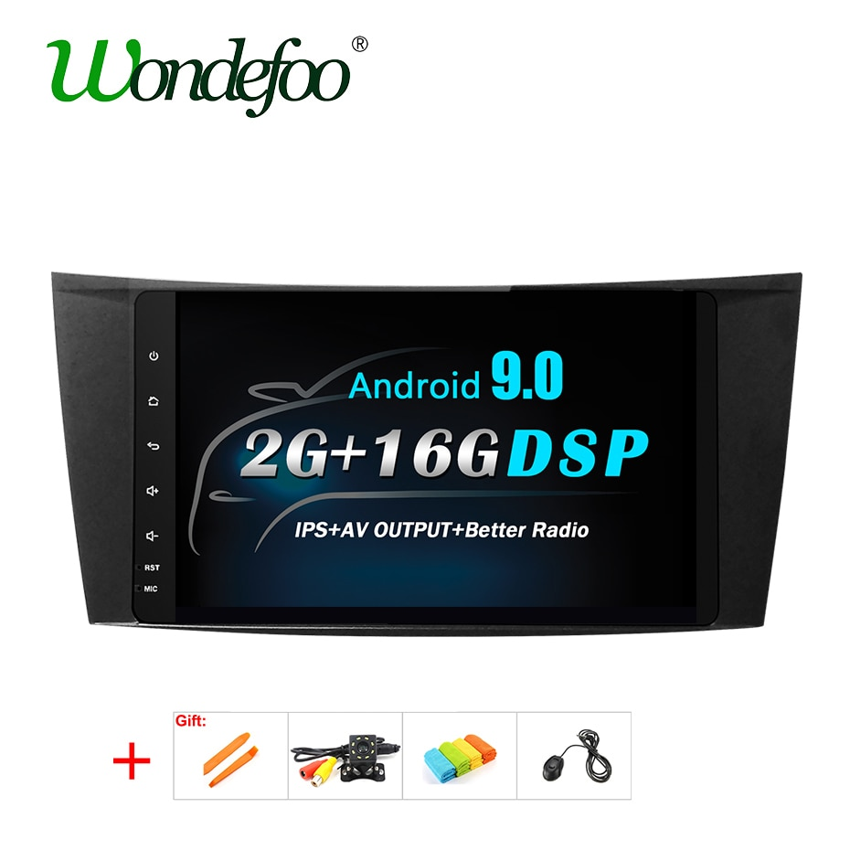 Dsp ips android 9.0 gps rádio para mercedes benz e-class w211 w219 e240 e270 e280 e200 e220 e300 e350 multimédios sem unidade principal de dvd