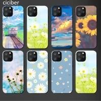 cute sunflower cover for iphone 12 pro 11 pro max se 2020 x xr xs 7 8 6s plus phone cases matte black tpu soft coque capa funda