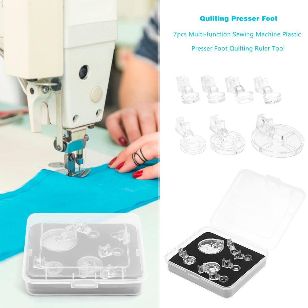 7 pces multi-função de plástico pé presser estofando máquina de costura ferramenta bordado calibre de bordado pé-pressionando para uso doméstico