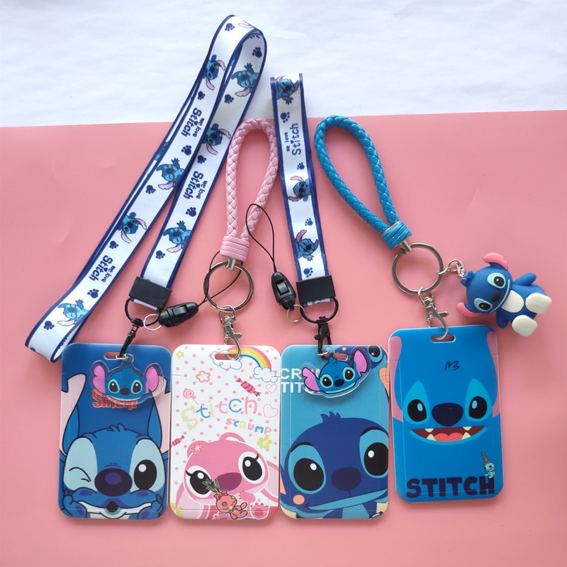 AliExpress - Stitch Mickey Mouse Card Cover Disney Fashion PVC Student Campus Card Minnie Hanging Neck Bag for Boys Girls ID Card Holder