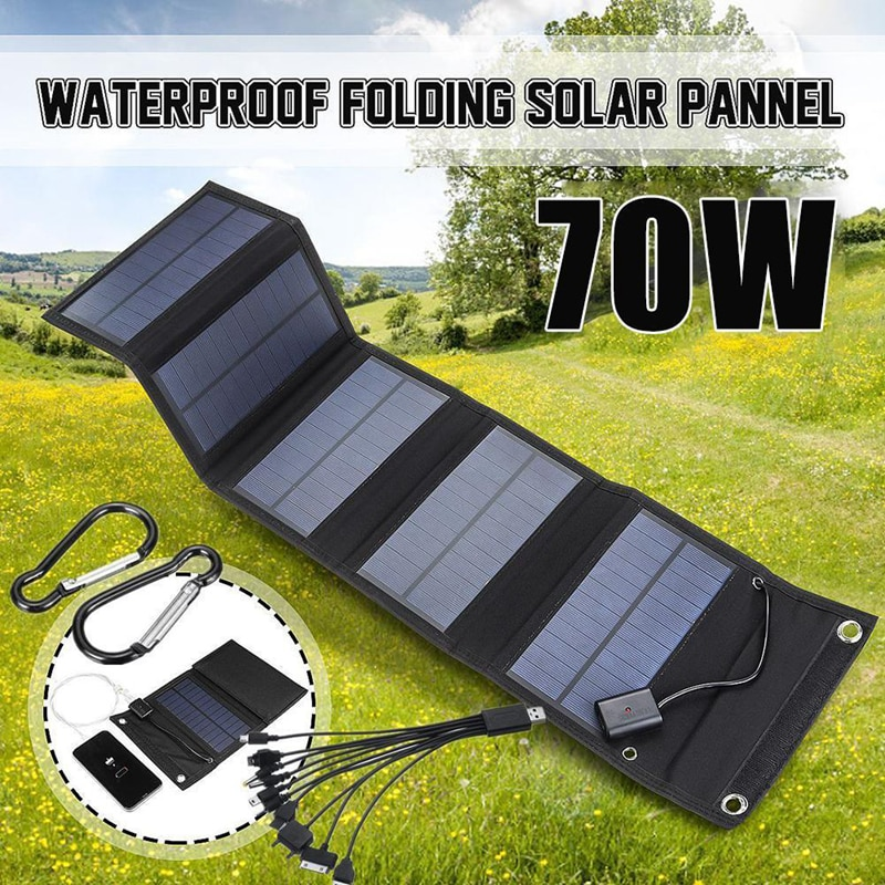 70W plegable del Panel Solar energía Solar células paquete de 10 in1 Cable USB portátil teléfono Cargador Solar para senderismo Camping
