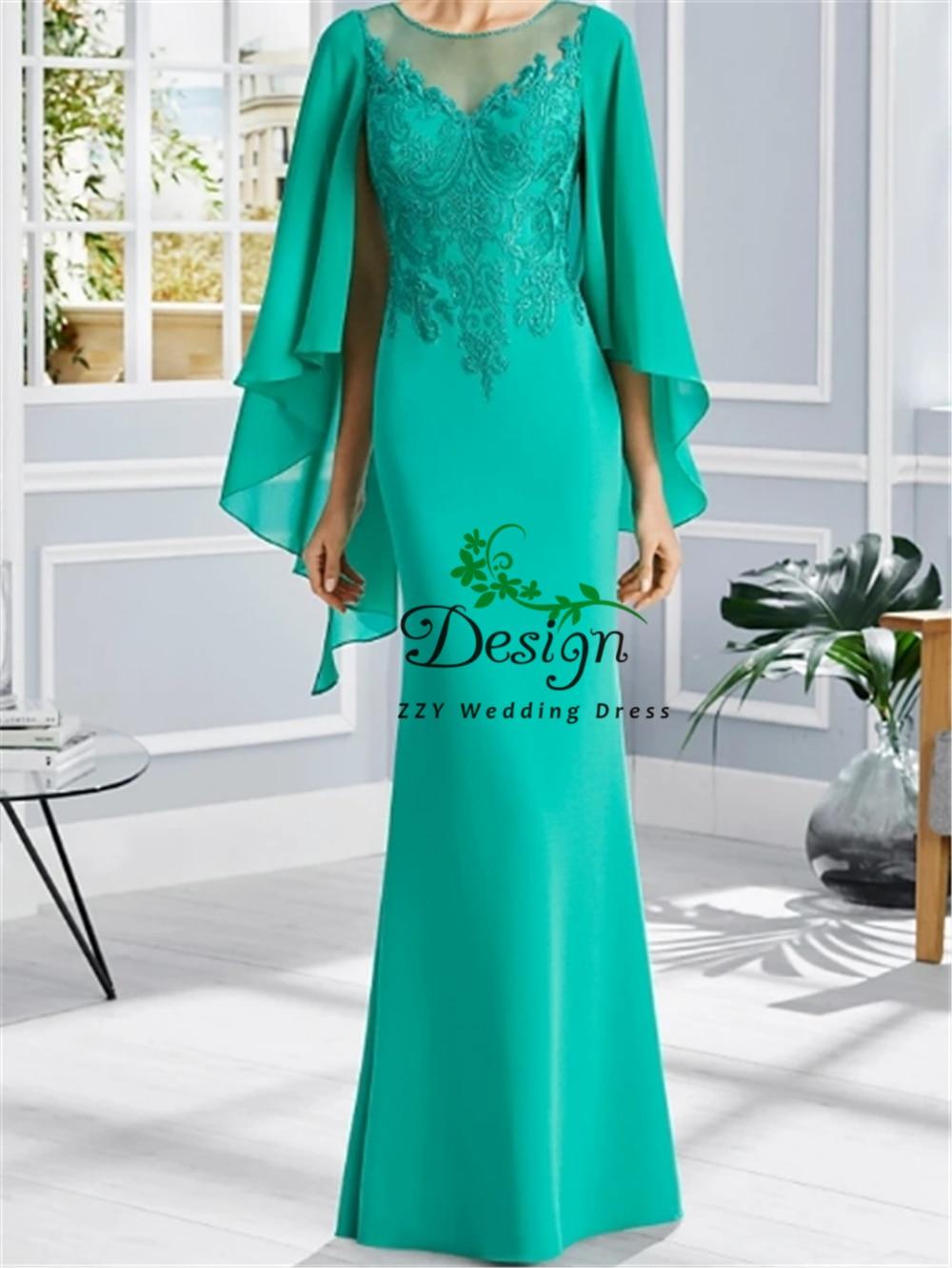فستان أم العروس ، غمد ، كتف ، شيفون ، طويل ، مقاس كبير ، مجموعة جديدة 2020