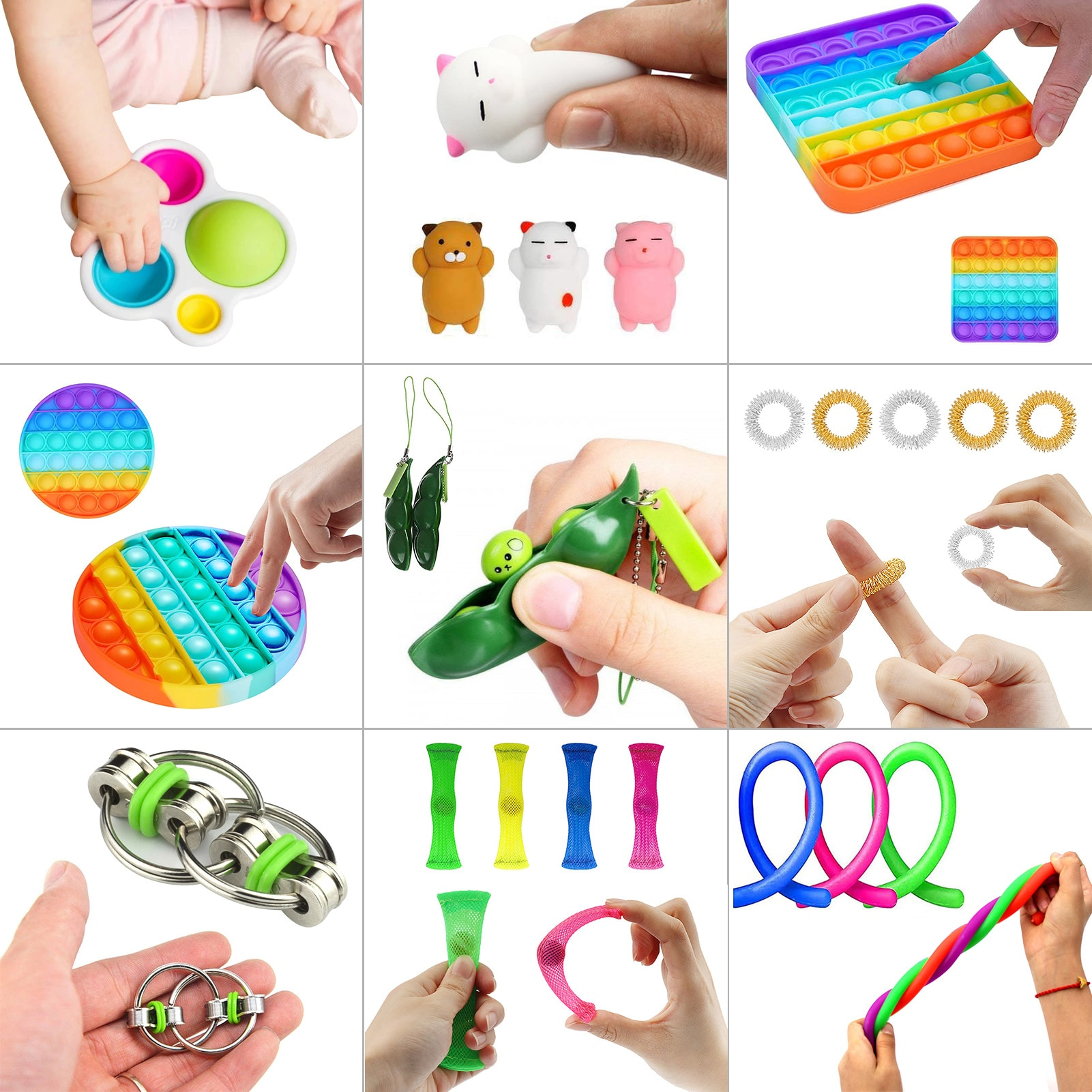 23 IN 1 Fidget Toys Pops it Sensory Antistress Toy Pack Squishy Squishmallow Decompression Stress Reliver Toy For Adults Kids enlarge