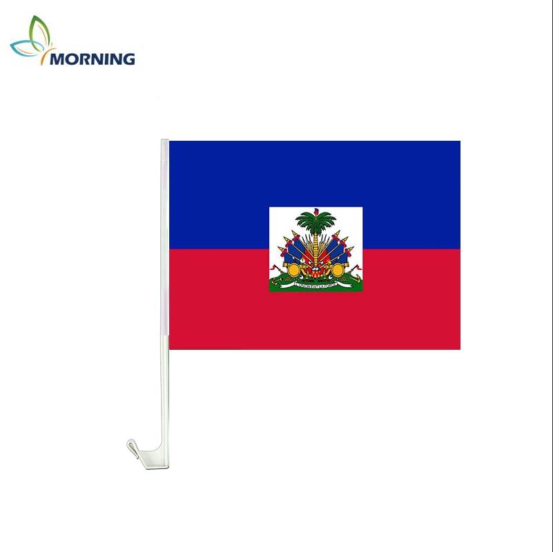 Mañana 22*33cm Bandera de coche de Haití con poste para publicidad