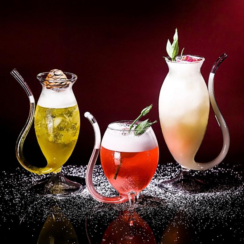 300ml copos de vidro de vinho tinto copos de vidro de uísque resistente ao calor copo de sucção de suco de leite cupstea copos de vinho com tubo bebendo strawaa