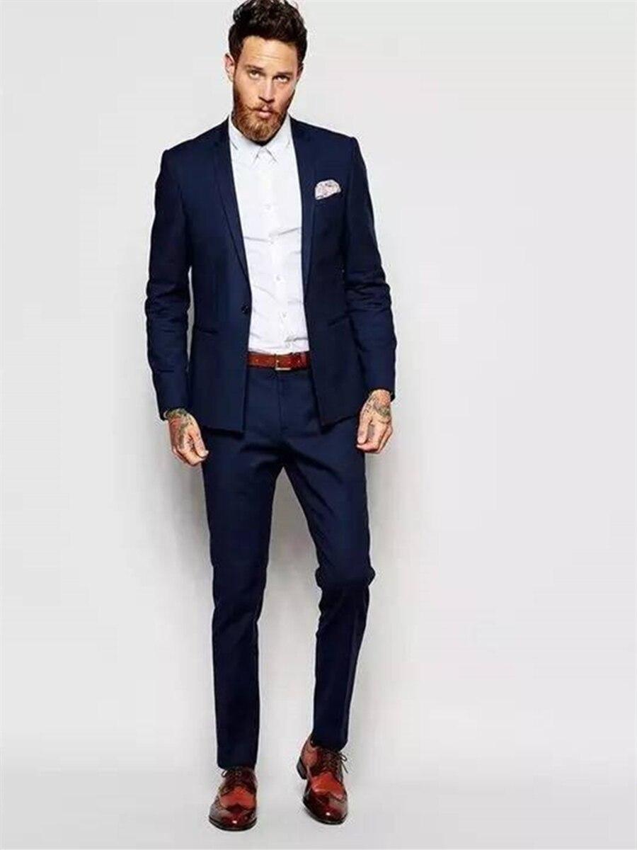 Handsome One Button Groomsmen  Notch Lapel Groom Tuxedos  Men Suits Wedding/Prom/Dinner Best Blazer(Jacket+Pants+Tie) 076